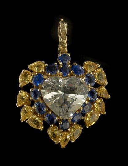 678: 18 Kt. and Sapphire Pendant