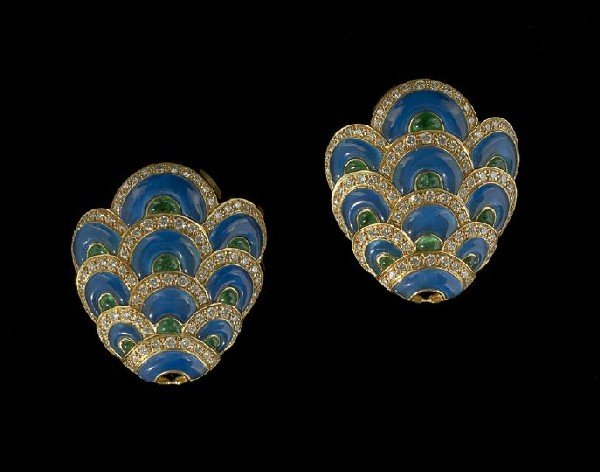 681: Pair of 18 Kt., Chalcedony and Diamond Earrings