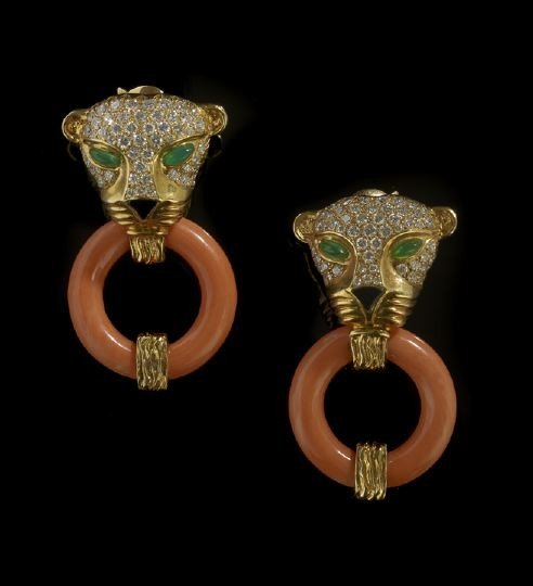 683: Pair of 14 Kt. Coral, Onyx and Diamond Earrings