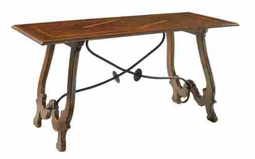 Spanish-Style Oak and Fruitwood Guard Room Table