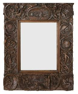 Unusual Continental Black Forest Carved Mirror