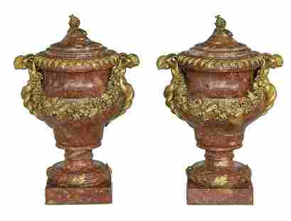 Pair of French Gilt-Bronze & Marble Covered Urns