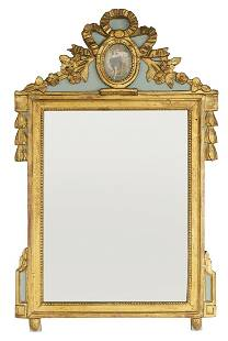 French Giltwood and Polychromed Mirror