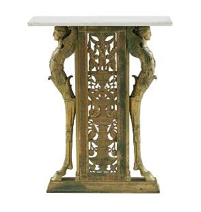 Art Deco Bronze and Marble-Top Console