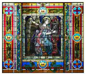 Large Mayer & Co. Leaded Stained Glass Window
