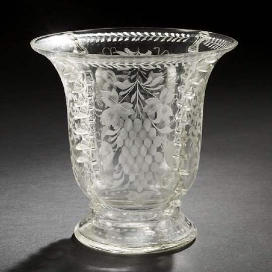 3: Dutch Applied, Crimped and Engraved Glass Vase