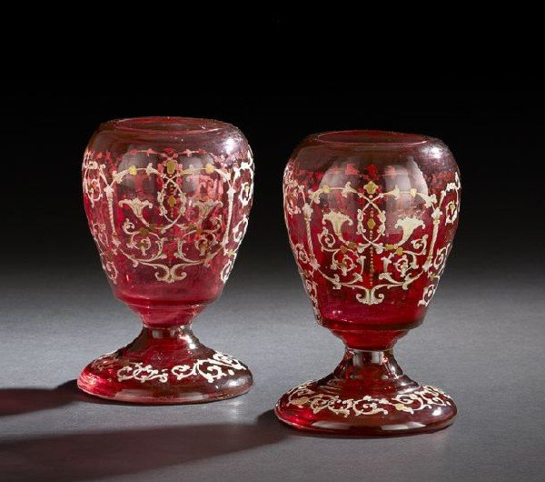 13: Pair of Bohemian Cranberry Glass Vases