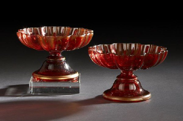17: Pair of William IV Ruby Glass Sweetmeat Stands