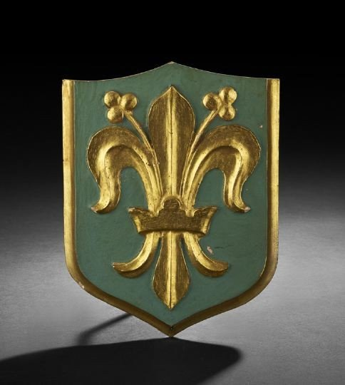 21: Florentine Carved and Painted Wooden Shield