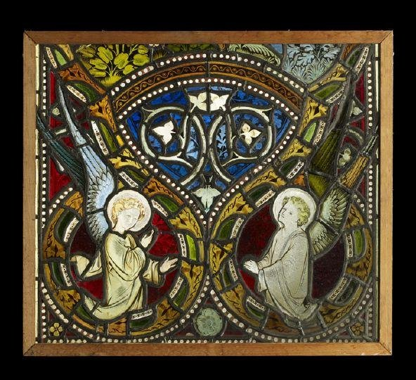 24: German Stained, Enameled and Leaded Glass Panel