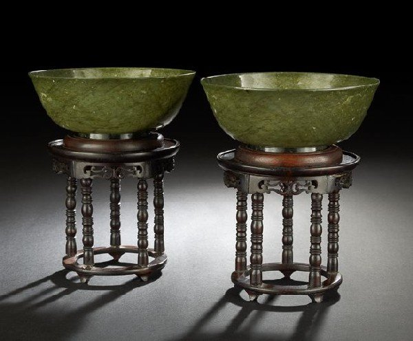 507: Pair of Chinese Carved Spinach Jade Bowls