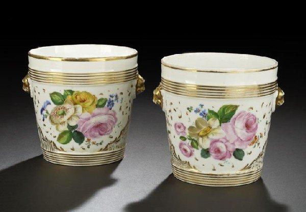 554: Pair of Paris Porcelain Two-Handled Cachepots