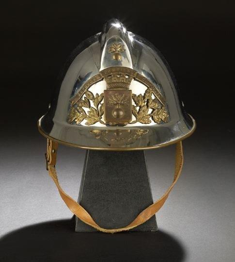 """701: French """"Modele 1933"""" Nickel & Brass Fire Helmet"""