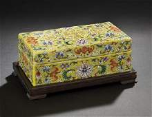 789 Chinese Famille Jaune Porcelain Covered Box