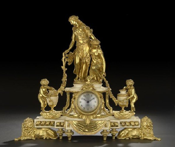 1: French Gilt-Bronze and Marble Mantel Clock