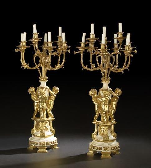 2: Pair of French Tripodal Nine-Light Candelabra