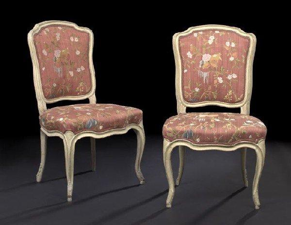 4: Pair of European Creme-Peinte Sidechairs
