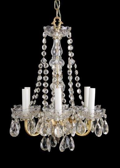 6: Gilt-Brass and Cut Glass Six-Light Chandelier