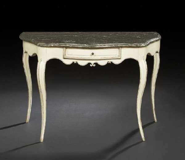 7: Provincial Louis XVI Marble-Top Side Table