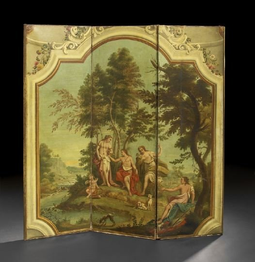 10: Large Hand-Painted Three-Fold Screen