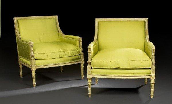 11: Pair of Louis XVI-Style Polychromed Bergeres