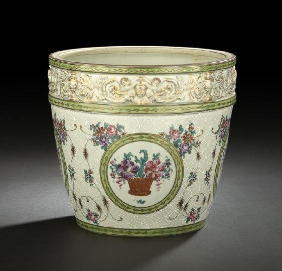 15: Large Edme Samson, Paris, Porcelain Cachepot