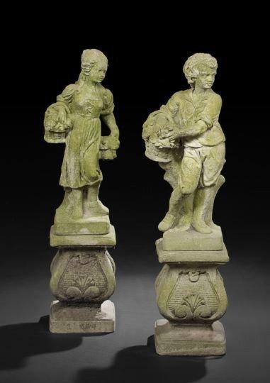 17: Pair of Cast-Stone Garden Figures