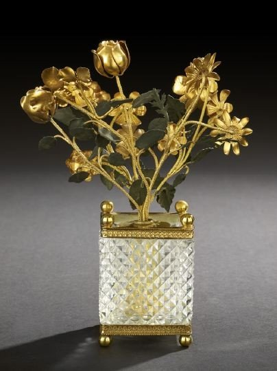 23: French Brass-Mounted Glass Miniature Tree Tub
