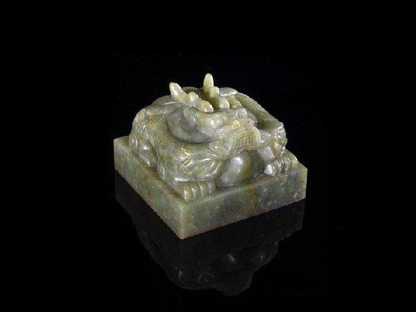 110: Rare, Large Chinese Green Jade Dragon Seal