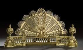233 FourPiece French Brass Fireplace Garniture