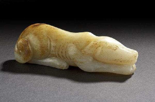 360: Chinese Carved Jade Figure of a Recumbent Hound