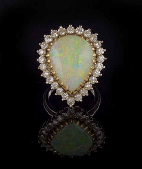 822: 14 Kt. Gold, Opal and Diamond Lady's Ring