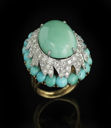 825: 14 Kt. Gold, Turquoise and Diamond Dome Ring