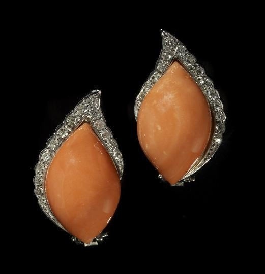 828: Pair of 14 Kt. Gold, Coral and Diamond Earrings
