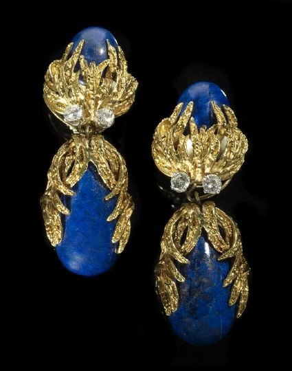 830: 18 Kt. Gold, Lapis Lazuli and Diamond Earrings