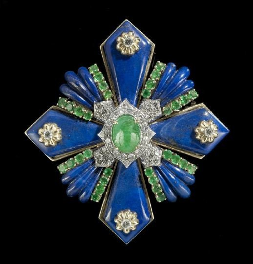 833: 18 Kt. Gold, Lapis, Emerald and Diamond Brooch