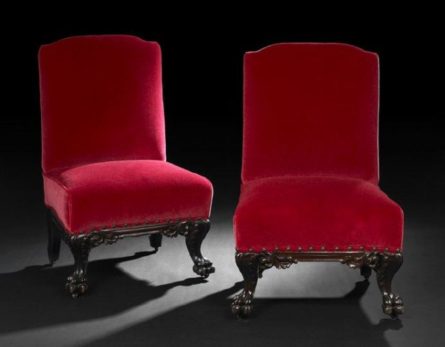 4: Pair of Victorian Upholstered Slipper Chairs