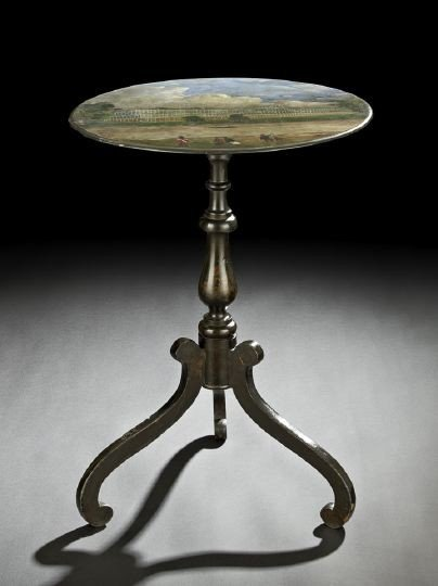 8: Victorian Ebonized and Polychromed Tripod Table