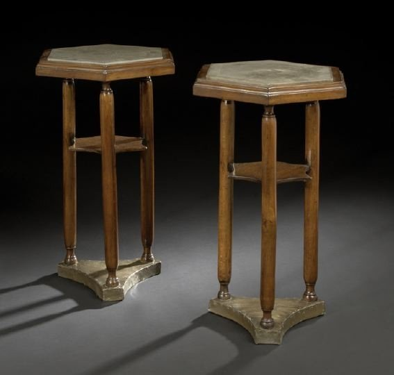 9: Pair of Continental Marble-Top Pedestal Tables
