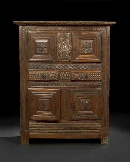 23: French Provincial Oak and Fruitwood Cabinet