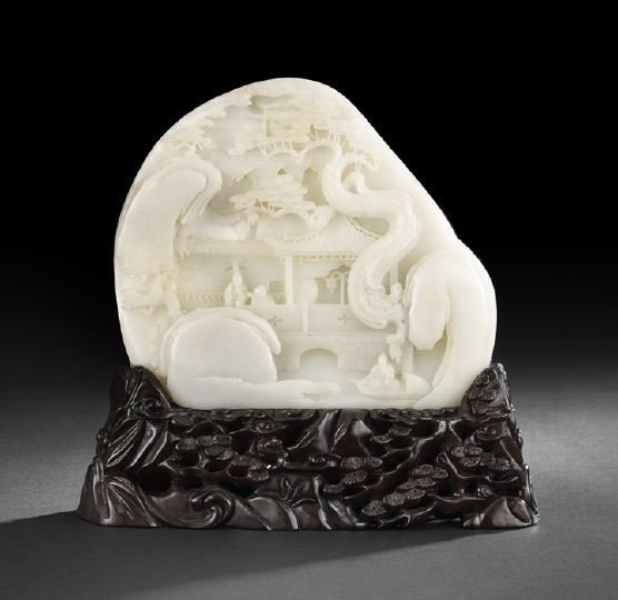 93: Chinese White Jade Double-Sided Carved Landscape