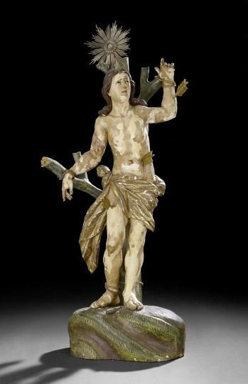 537: Continental Carved Wooden Statue of St. Sebastian
