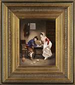 586 Pair of Derby Porcelain Plaques of Spanish Scenes