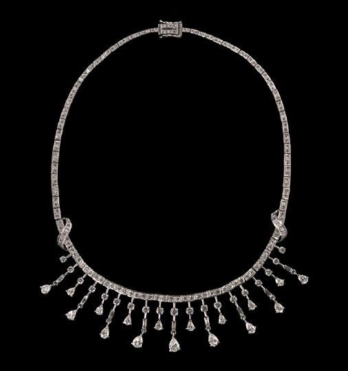 749: Lady's 18 Kt. White Gold and Diamond Necklace
