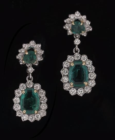 752: Pair of 14 Kt. Gold, Emerald and Diamond Earrings