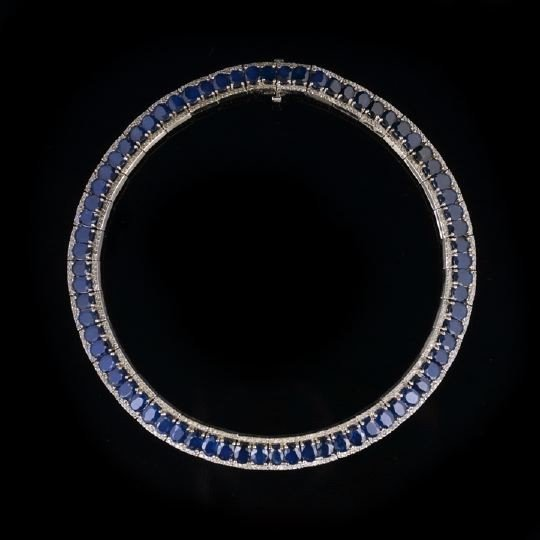 758: 14 Kt. White Gold, Sapphire and Diamond Necklace