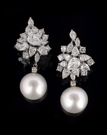 764: Pair of Platinum, Diamond and Pearl Earrings