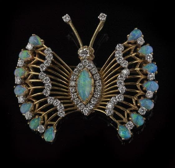 769: 18 Kt. Yellow Gold, Opal and Diamond Brooch