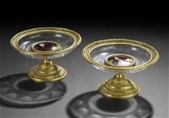 1011: Pair of French Bronze, Glass and Enamel Compotes