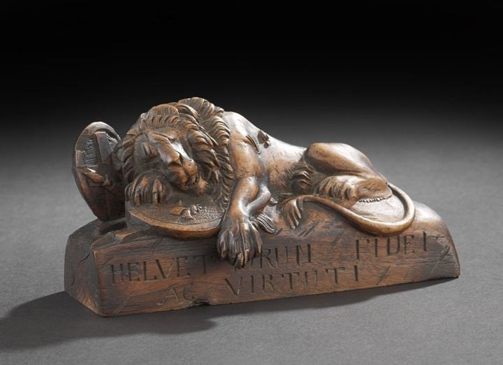 5: Carved Wood Figure of a Dying Lion